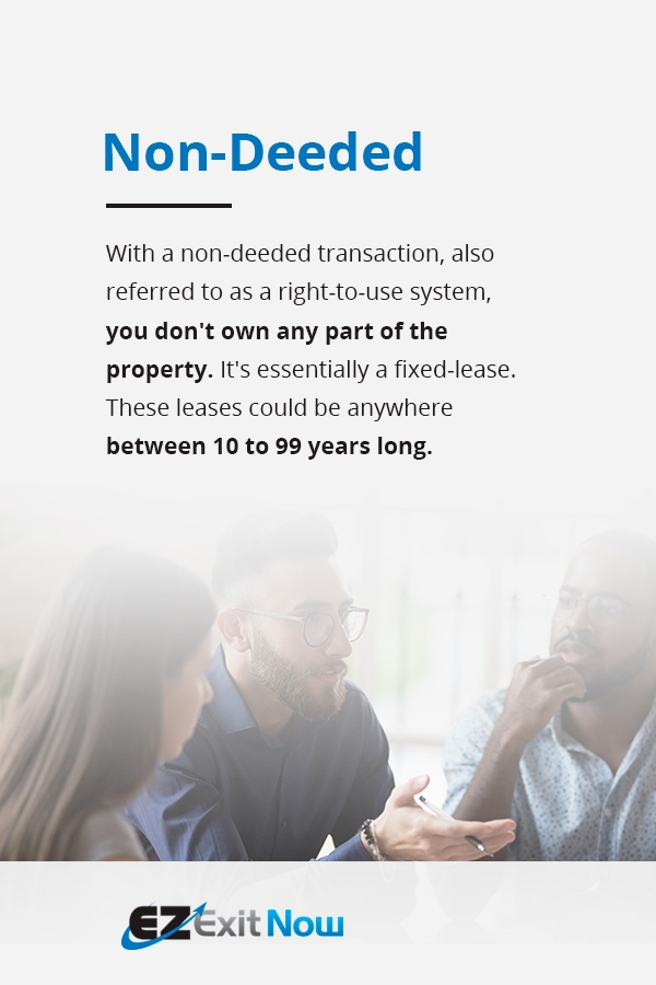 Non-Deeded - You don't own any part of the property. The lease could be anywhere between 10 to 99 years long.