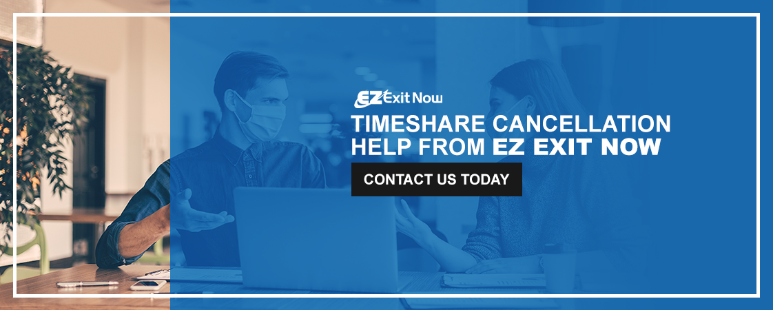 """Timeshare Cancellation Help From EZ Exit Now - """"Contact Us Today"""" button"""